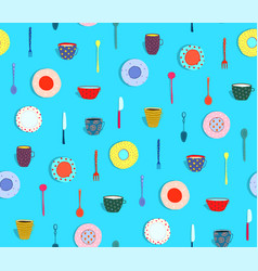 pattern silverware and dishes plates background vector image vector image