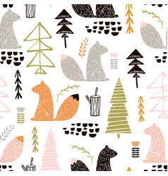 Seamless pattern with squirreltrees creative vector