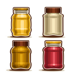 Set of glass different jars vector