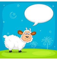 Sheep wishing Eid mubarak vector image