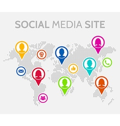 Social media icons with world map vector image