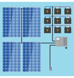 Solar battery energy panel home power eco sun en vector