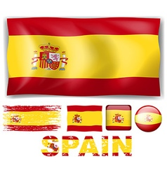 Spain flag in different designs and wording vector image vector image
