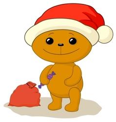 teddy bear santa vector image vector image