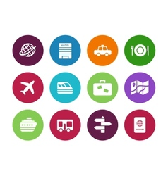 Travel circle icons on white background vector