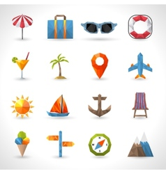 Travel Polygonal Icons vector image