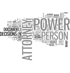 What is power of attorney text word cloud concept vector