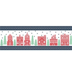 Xmas pattern with winter wonderland town in green vector