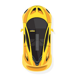 yellow sport car top view in flat style isolated vector image vector image