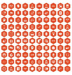 100 working hours icons hexagon orange vector