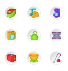 Home appliances icons set cartoon style vector