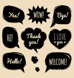 set of speech bubbles in comic style hand vector image