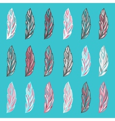 Colorful hand-drawn fantastic feathers vector