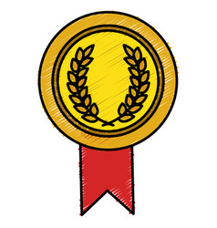 Championship medal isolated icon vector