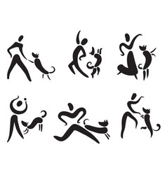 Icons set with people and dogs pictigram for vector