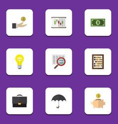Flat icon finance set of parasol counter diagram vector