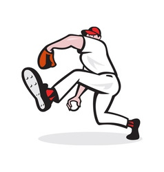 Baseball pitcher throwing ball cartoon vector