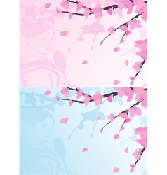 Asian background sakura cherry blossoms vector