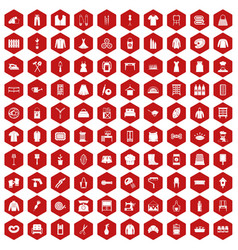 100 needlework icons hexagon red vector