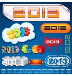2013 Year Inscriptions Design vector image