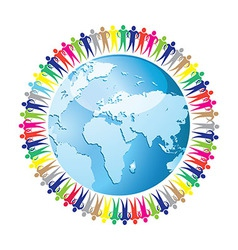 Community of people joined around the globe vector image