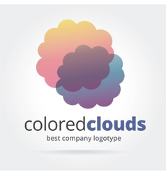 Abstract logotype with two clouds isolated on vector image