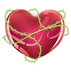Red heart with thorns vector