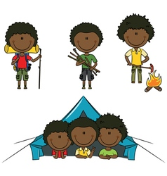 African-american camping boys vector