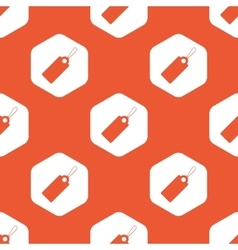 Orange hexagon string tag pattern vector
