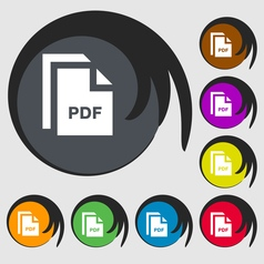 File pdf icon sign symbol on eight colored buttons vector