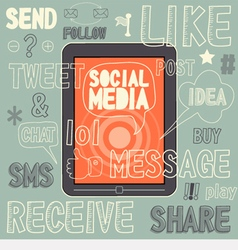 Social media sign and symbol hand drawn vector