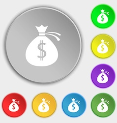 Money bag icon sign symbols on eight flat buttons vector