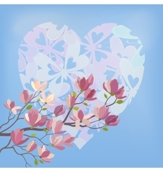 Magnolia flowers and valentines heart vector