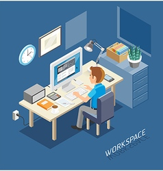 Business work space isometric flat style vector
