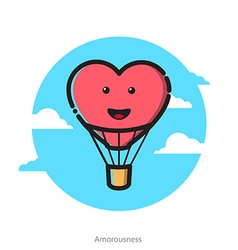 Heart shape air balloon vector