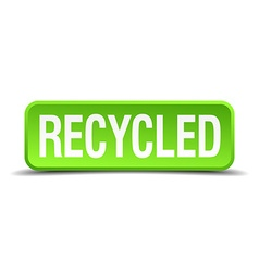 Recycled green 3d realistic square isolated button vector