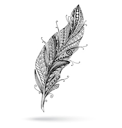 Artistically drawn stylized feather on a vector