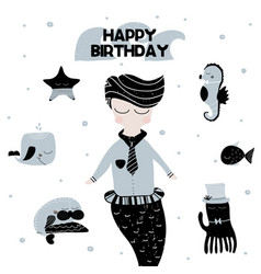 card with calligraphy lettering happy birthday and vector image