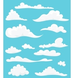 Cartoon set of cute clouds on blue background vector
