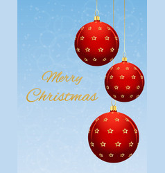 christmas card with red ball on a light blue vector image vector image
