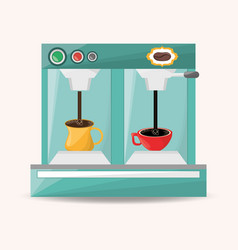 Coffee machine electric with cup hot vector