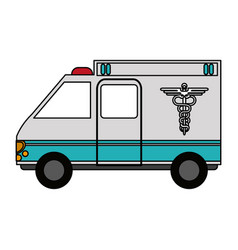 color graphic ambulance truck with medical symbol vector image