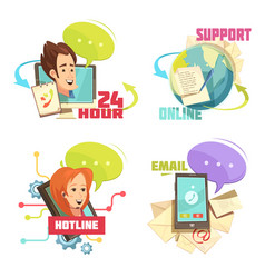 Contact us retro cartoon compositions vector