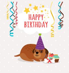 Cute dog and cupcakes birthday card vector
