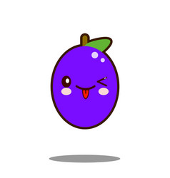 cute plum fruit cartoon character icon kawaii flat vector image vector image