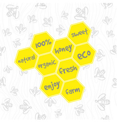 doodle honeycomb pattern vector image