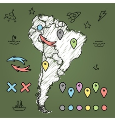 Doodle South America map on green chalkboard with vector image vector image