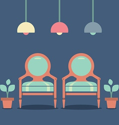 Flat Design Interior Vintage Chairs vector image