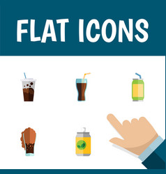 Flat icon drink set of carbonated drink beverage vector
