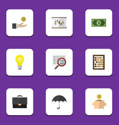 Flat icon finance set of parasol counter diagram vector
